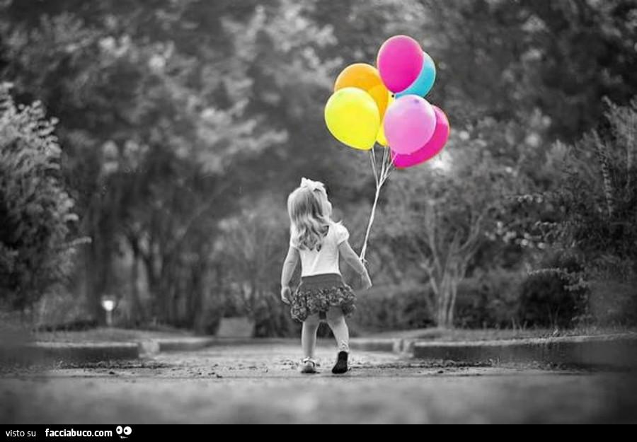 Bambina con palloncini colorati - Immagine con palloncini ...