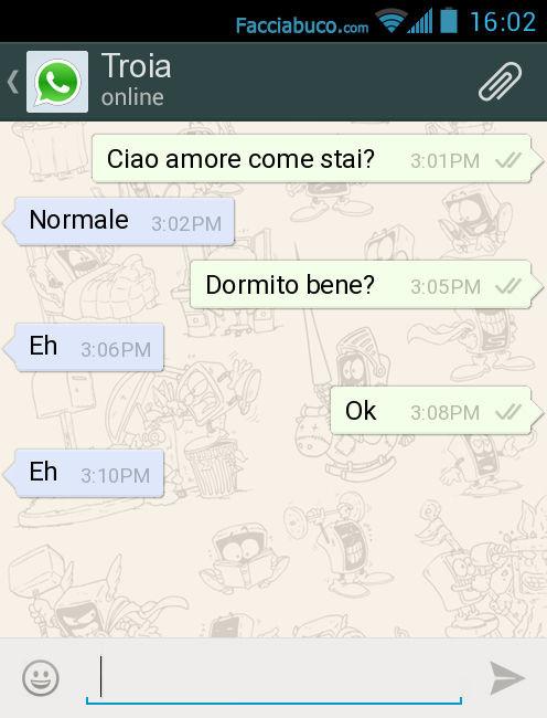 Ciao Amore Come Stai Normale Dormito Bene Eh Ok Eh Facciabucocom